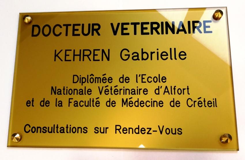 plaque professionnelle vétérinaire