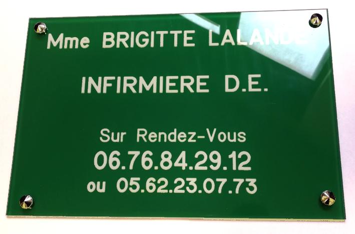 Plaque infirmière en plexiglass vert